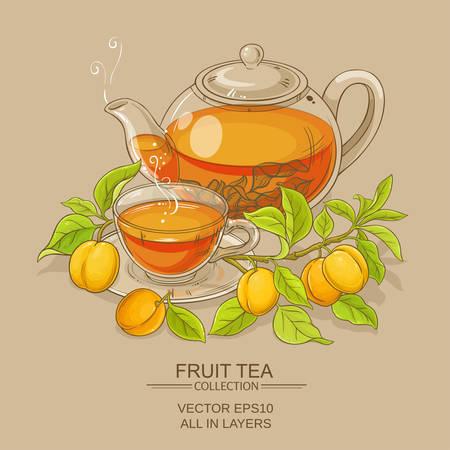 色の背景上のアプリコット紅茶ベクトル図