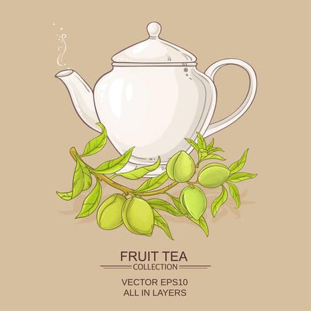 Almond tea vector illustration on color background