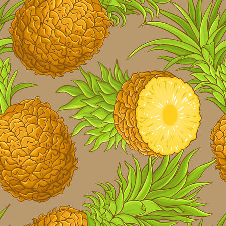 pineapple fruits vector pattern on color background