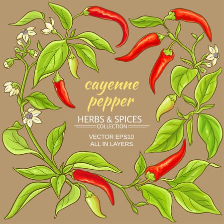 Cayenne pepper vector frame on color background.