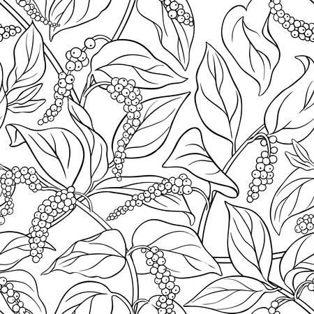 Schwarzer Pfeffer nahtlose Muster auf weißem Hintergrund