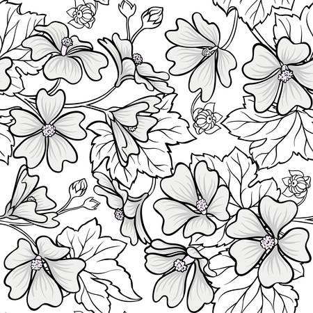 malva plant seamless pattern on white background