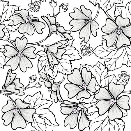 malva plant seamless pattern on white background