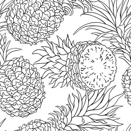 pineapple seamless pattern illustration.