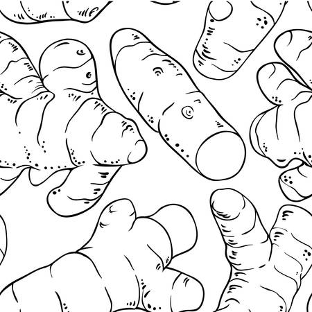Turmeric root seamless pattern on white background