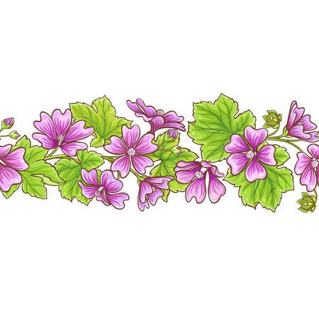 Malva flowers vector frame on white background
