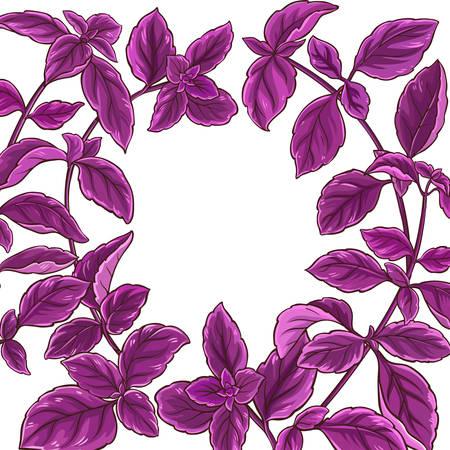 Basil plant frame border illustration. Illustration