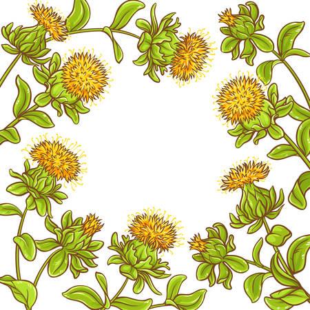 safflower plant vector frame on white background