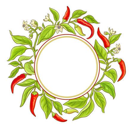 Cayenne pepper vector frame illustration on white background.