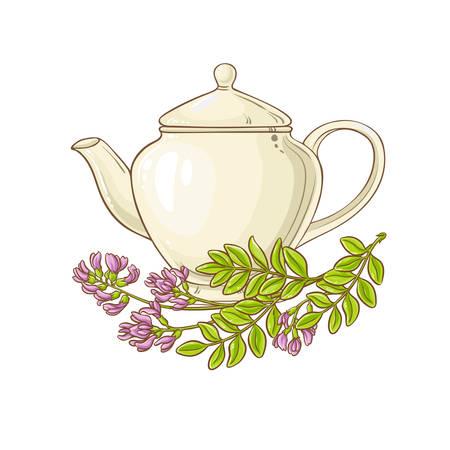 astragalus tea in teapot Ilustração
