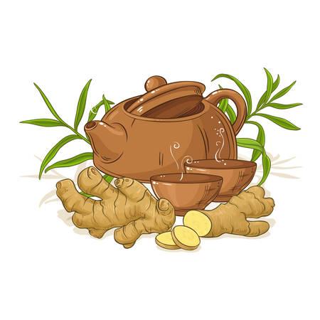 ginger tea illustration Illustration
