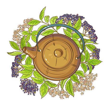 elderberry tea in teapot illustration on white background