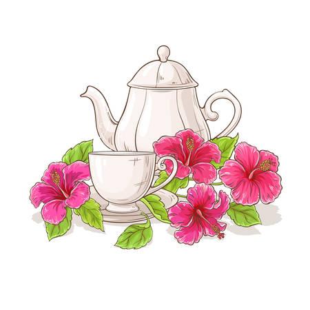ilustración de té de hibisco