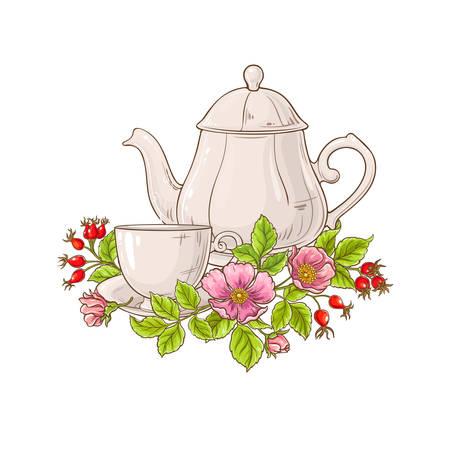 Wildrosentee-Illustration auf weißem Hintergrund