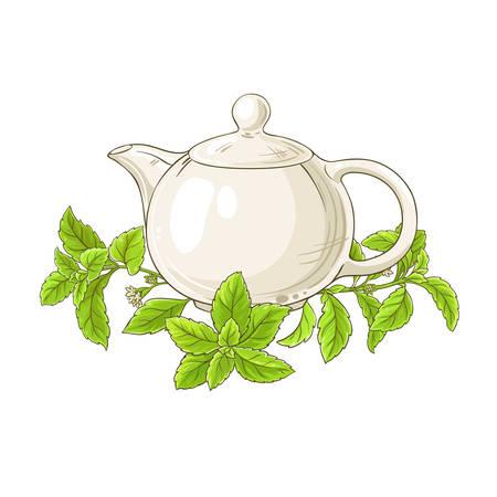 stevia tea illustration on white background Иллюстрация