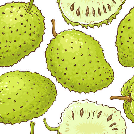 soursop vector pattern on white background