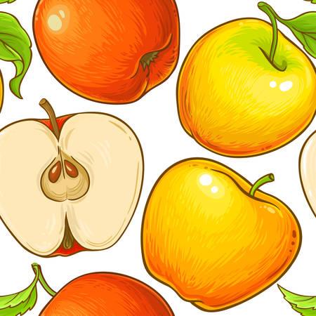 apple fruit vector pattern on white background Illustration