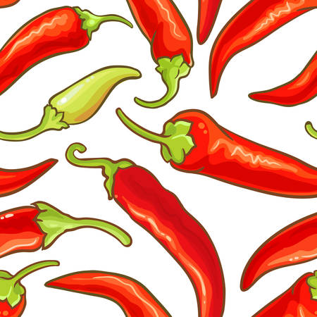 cayenne pepper vector seamless pattern on white background Illustration