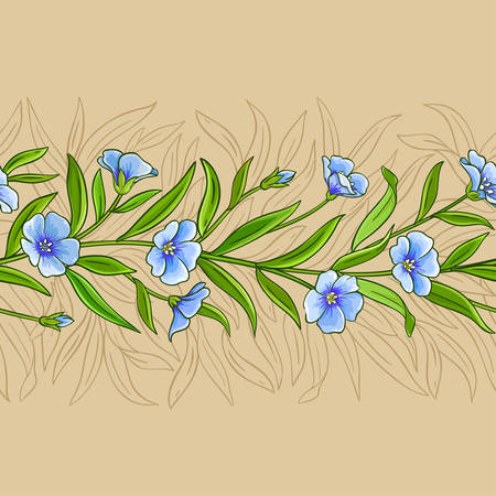 flax vector pattern on color background Ilustrace