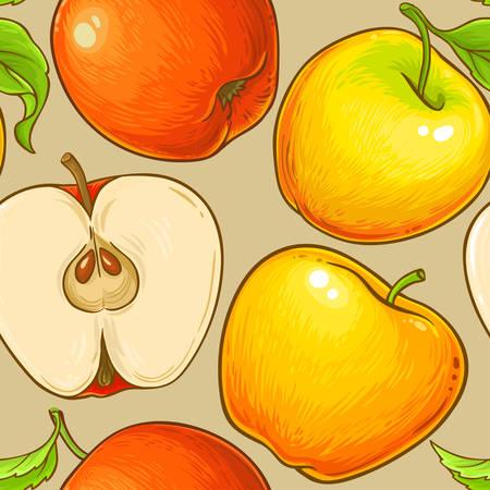apple fruit vector pattern on color background Illustration