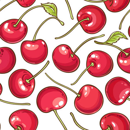 cherry berries vector pattern on white background