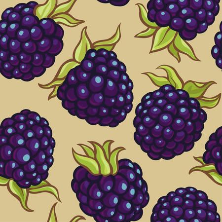 blackberry berries vector pattern Illustration