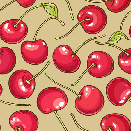 cherry berries vector pattern on color background