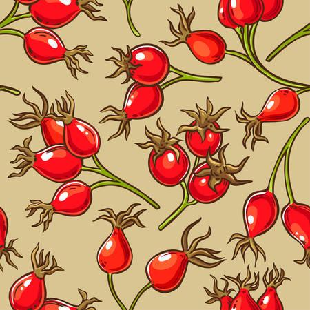 dog rose berries vector pattern on color background Illustration