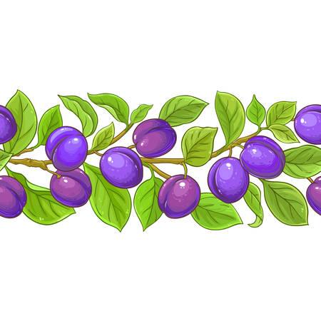 plum vector pattern on white background