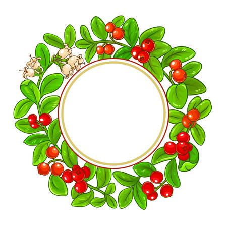 lingonberry vector frame on white background