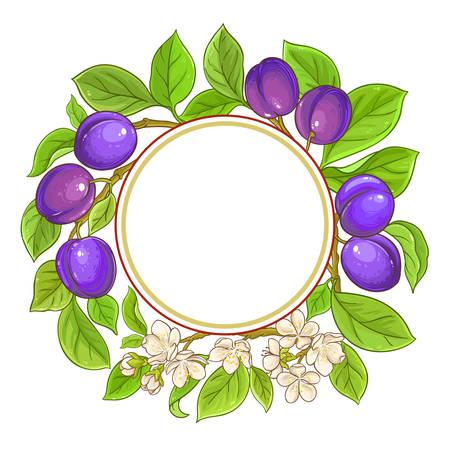 plum vector frame on white background