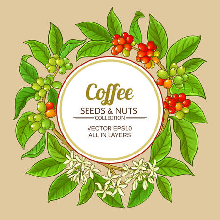 coffee vector frame on color background