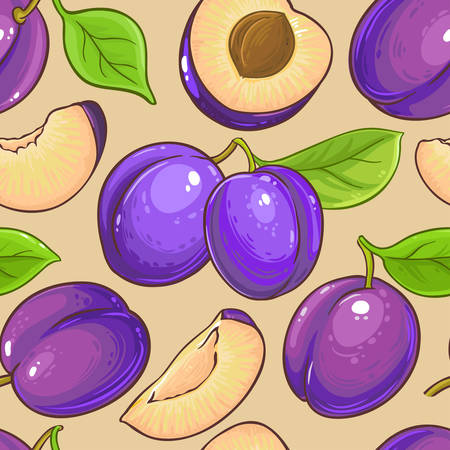 plum vector pattern on color background Reklamní fotografie - 125091788