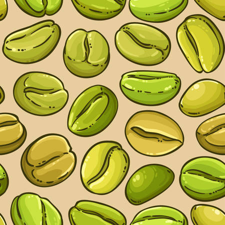 green coffee vector pattern on color background Reklamní fotografie - 125091789