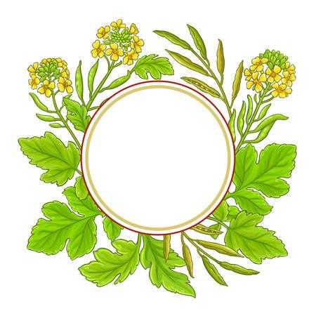 mustard vector frame on white background Ilustrace