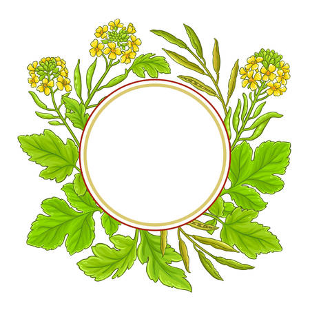 mustard vector frame on white background Illustration