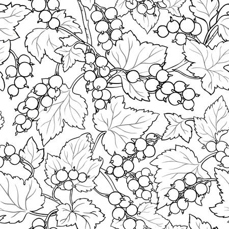 red currant branches vector pattern on white background