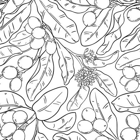 shea branches vector pattern on white background Ilustrace