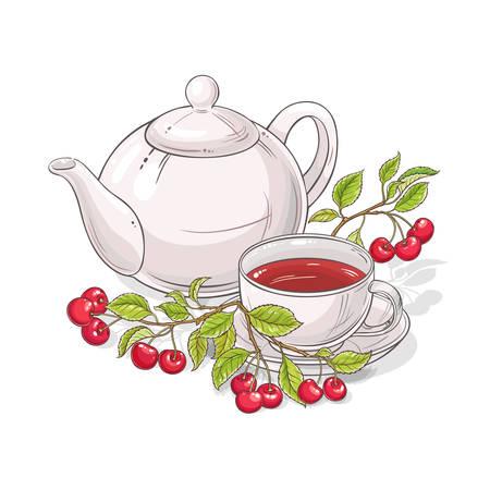cherry tea vector illustration on white background Ilustrace