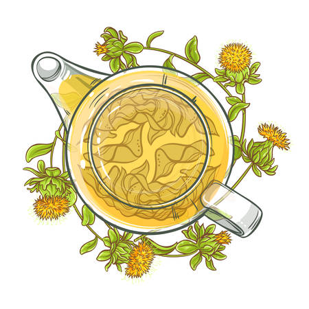 safflower tea vector illustration on white background