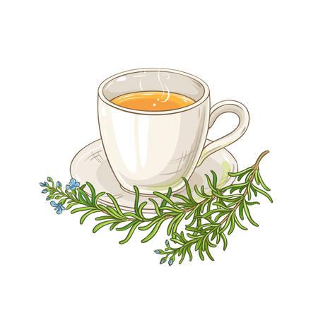 mug of rosemary tea illustration on white background Ilustrace