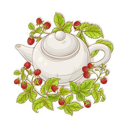 raspberry tea in teapot illustration on white background Ilustrace