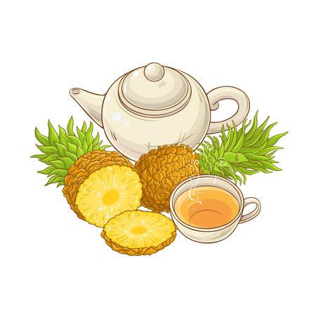 pineapple tea in teapot illustration on white background