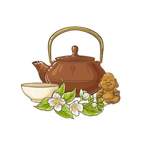 illustrazione vettoriale di tè al gelsomino su sfondo bianco Vettoriali