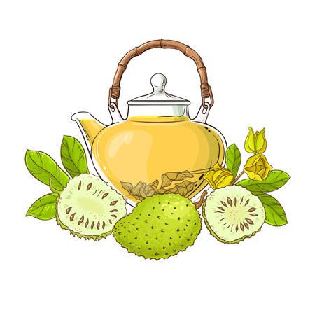 soursop tea in teapot illustration on white background Ilustrace