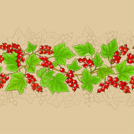 red currant branches pattern on color background Illustration