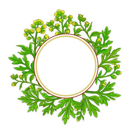 wormwood plant circle frame on white background Illustration