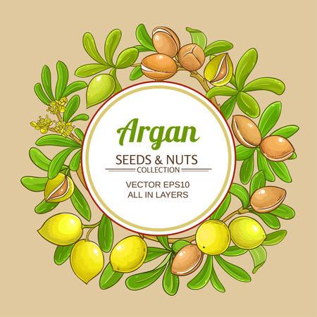 argan branches vector frame on color background Illustration