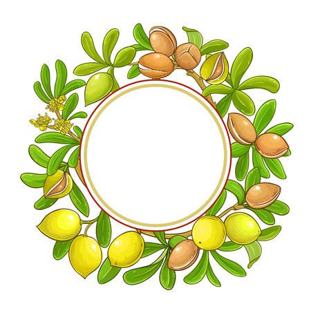 argan branches vector frame on white background