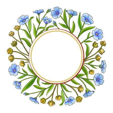 flax plant vector frame on white background Illustration